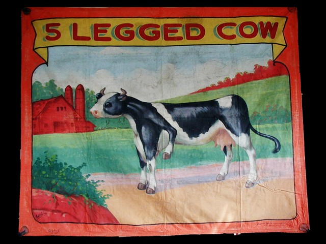 5 legged cow sideshow banner by Fred G. Johnson