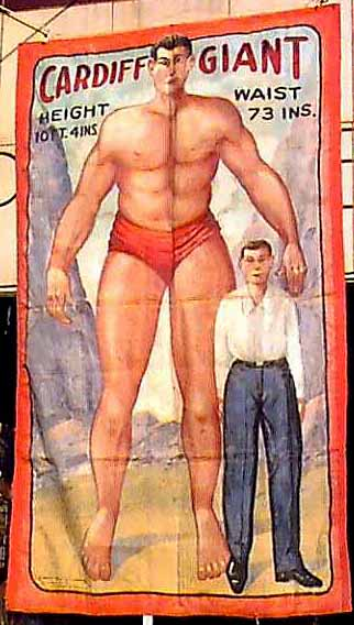 Cardiff giant sideshow banner by Fred G. Johnson
