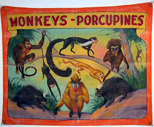 Monkeys and porcupines sideshow banner by Fred G. Johnson