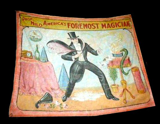 Professor Milo magician sideshow banner by Fred G. Johnson