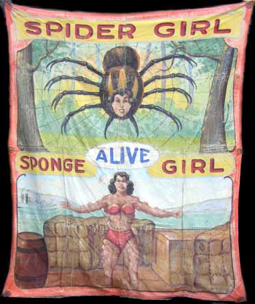 Spider Girl and Sponge Girl sideshow double banner by Fred G. Johnson