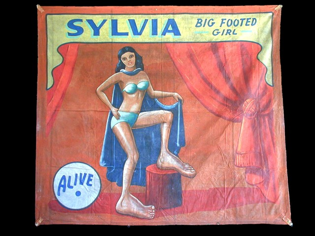 Sylvia big footed girl sideshow banner by Fred G. Johnson