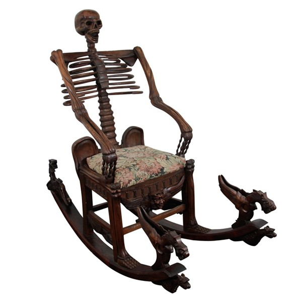Momento Mori skeleton rocking chair