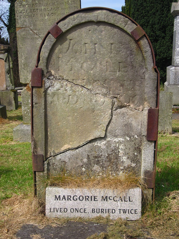 The grave of Margorie McCall, who rose from the grave in Lurgan, Ireland