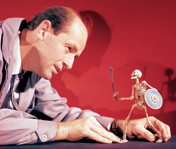 Ray Harryhausen with his skeleton warrior from Jason and the Argonauts