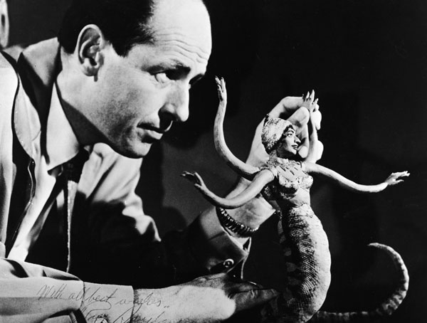 Ray Harryhausen working with one of his creatures