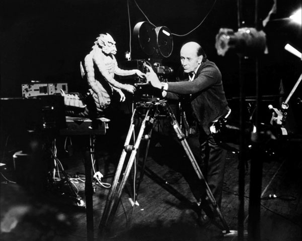 Ray Harryhausen works with the Kraken on the set of Clash of the Titans