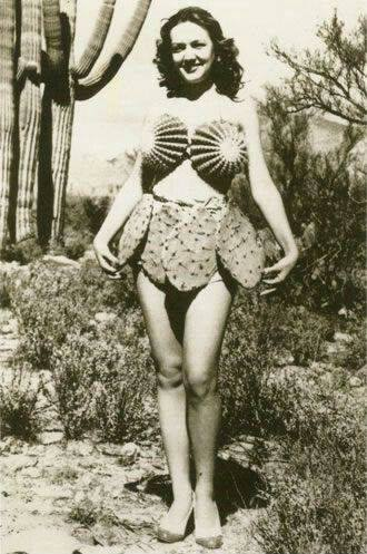 Vintage photo of a woman wearing a cactus bikini