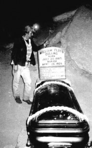 Floyd Collins on display in Sand Cave in a casket with a glass lid