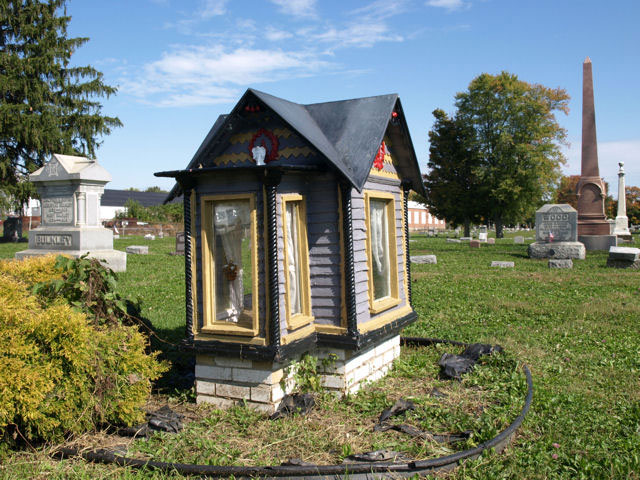 The dollhouse grave of Vivian Mae Allison in Connersville, Indiana