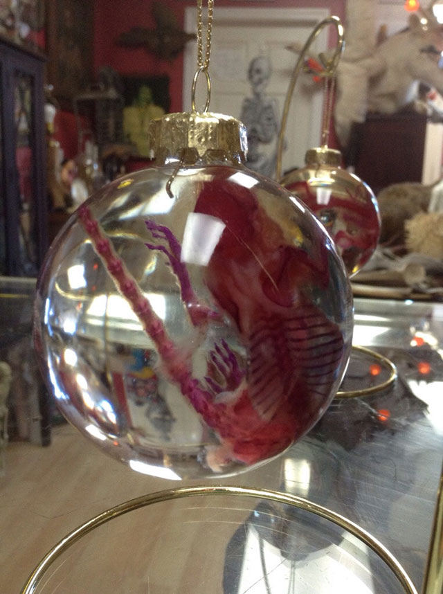 Diaphonized mouse Christmas ornaments by Greg Bowser of Pandora's Box oddities shop