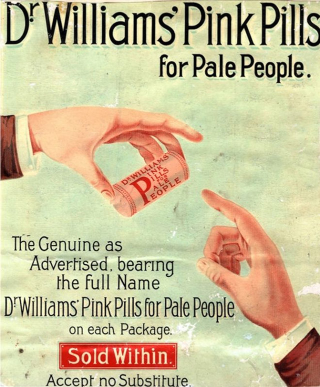 Weird vintage medicine ad for Dr. William's pink pills for pale people