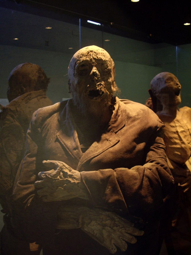 The mummified remains of a bearded man in a jacket at the El Museo De Las Momias in Guanajuato, Mexico
