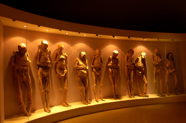 A row of mummies on display at the El Museo De Las Momias in Guanajuato, Mexico