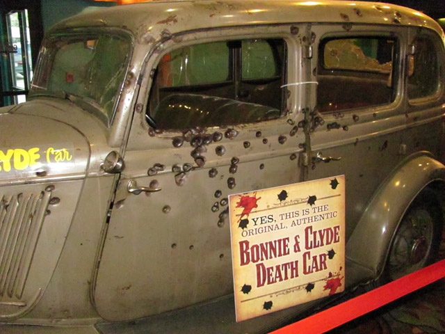 The bullet-riddled death car of Bonnie and Clyde