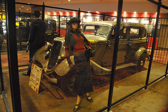 Bonnie and Clyde's death car on display at Whiskey Pete's Hotel and Casino in Primm, NV