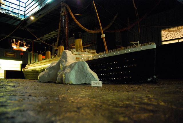 A model of the Titanic as it collides with an iceberg at House on the Rock
