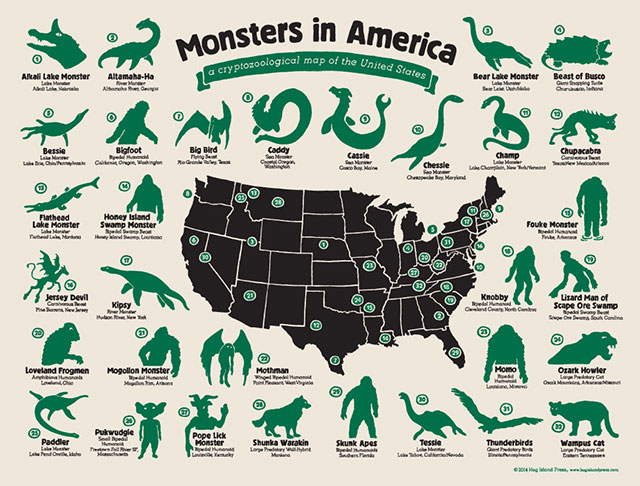 Monsters in America cryptozoological map from Hog Island Press