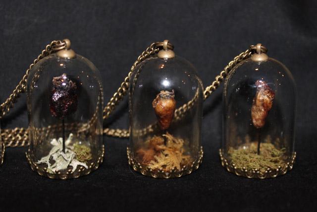 Mummified heart pendants by Afterlife Anatomy