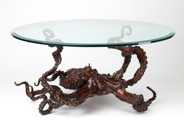 Bronze octopus octopus coffee table by sculptor Kirk McGuire