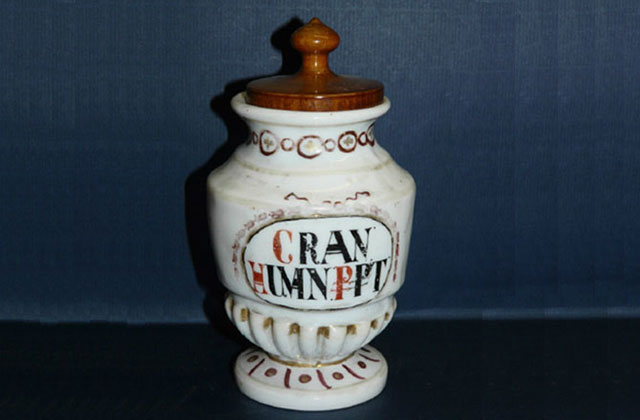 Jar used to hold human cranium bone dust concoctions