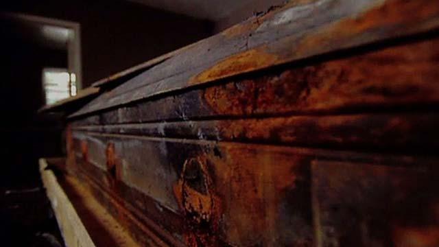 The original pine coffin that once held JFK assassin Lee Harvey Oswald