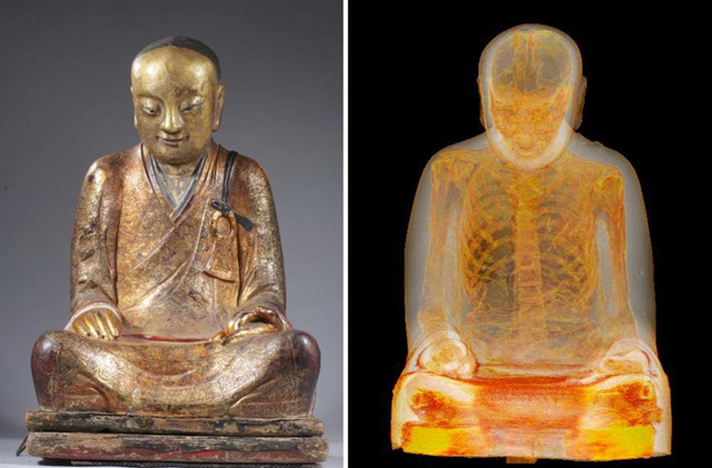 CT scan reveals mummified monk found inside 1,000-year-old Buddha statue