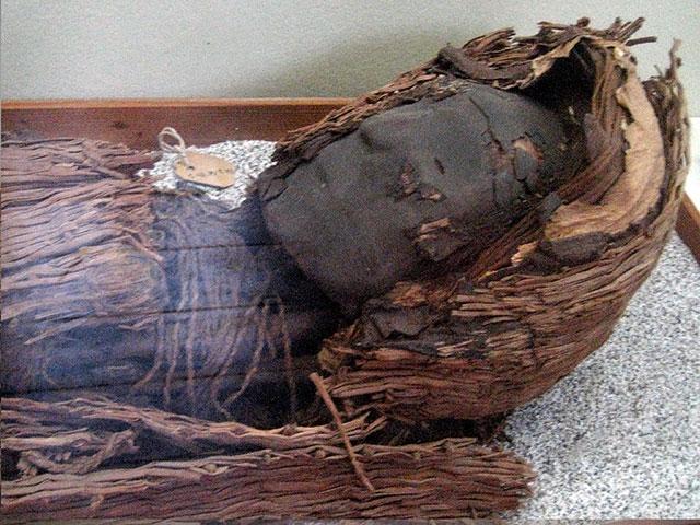 A Chinchorro mummy with a clay mask