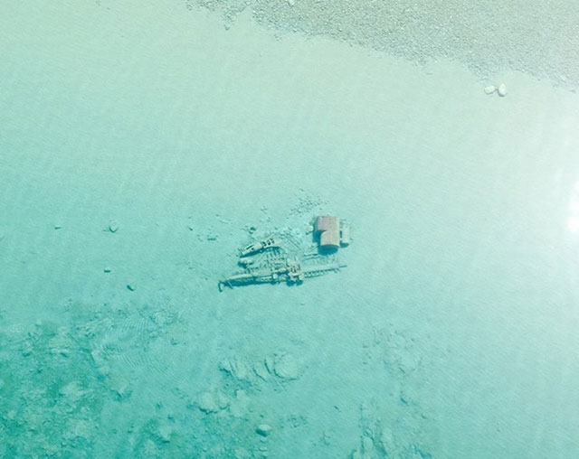 Lake Michigan shipwrecks visible from the air
