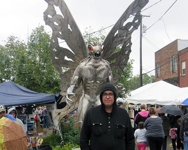 Monster Hunters author Tea Krulos with the Mothman.