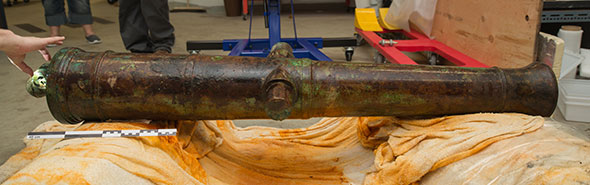 A brass 6-pounder cannon from the wreck of the HMS Erebus