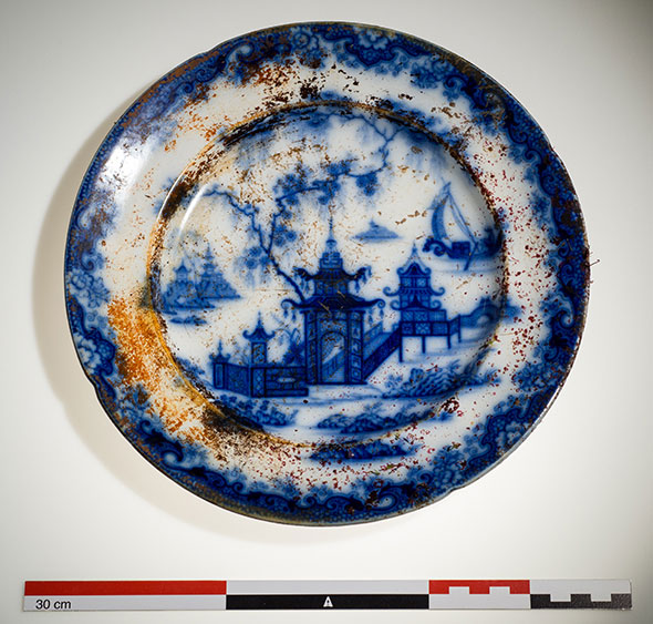 Ceramic plate used on the Erebus with the popular flow blue Whampoa pattern