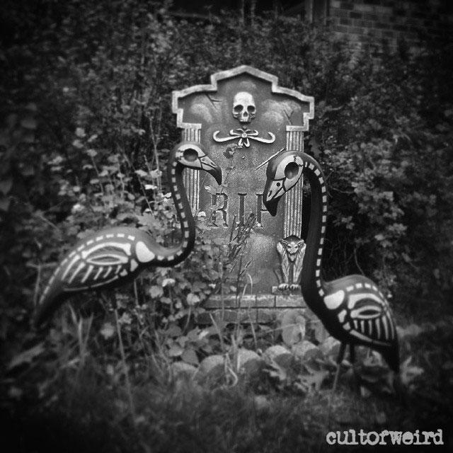 Dead skeleton flamingo lawn ornaments for Halloween