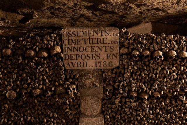 Bones in the Paris catacombs