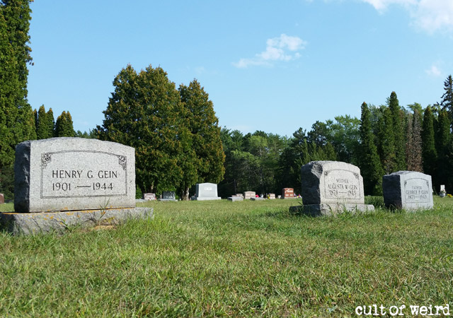 The grave of Ed Gein and his family in Plainfield Cemetery