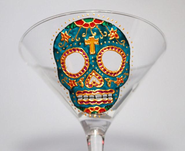 Hand-painted sugar skull martini glass