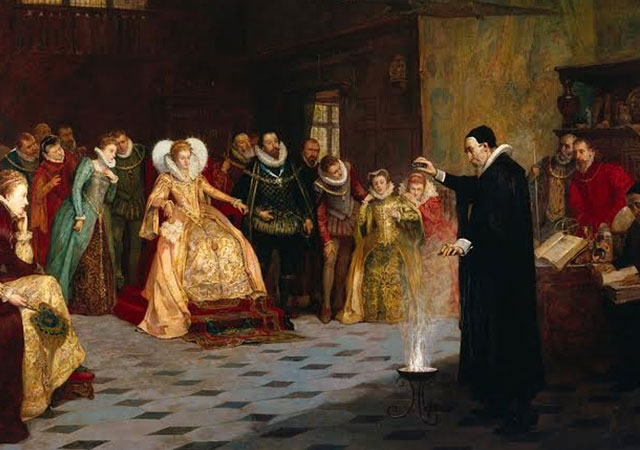This painting of occultist John Dee originally had a circle of skulls