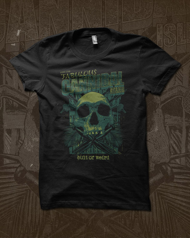 Cannibal Isles t-shirts available now in the Cult of Weird shop