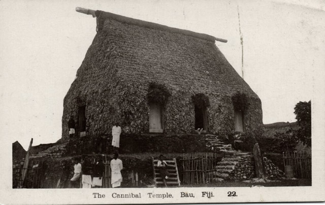 Vintage postcard of the cannibal temple at Bau
