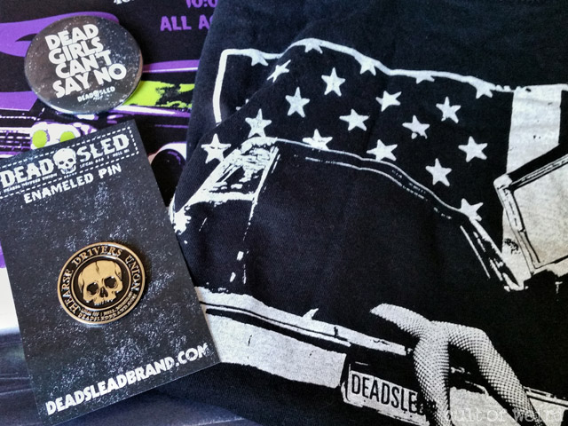 Dead Sled Brand enamel pin, button, and t-shirt