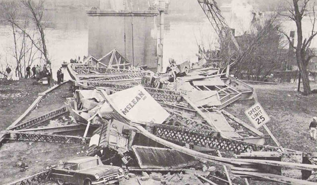 Wreckage of the Silver Bridge collapse