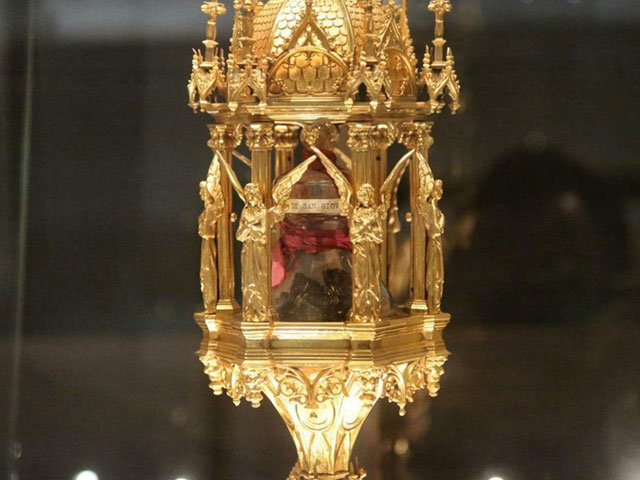 Reliquary containing the venerated brain fragment of John Bosco