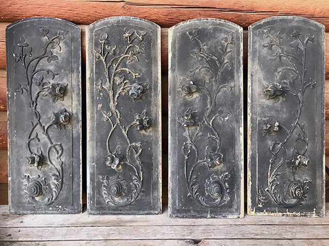 Vintage wood carved Victorian hearse panels