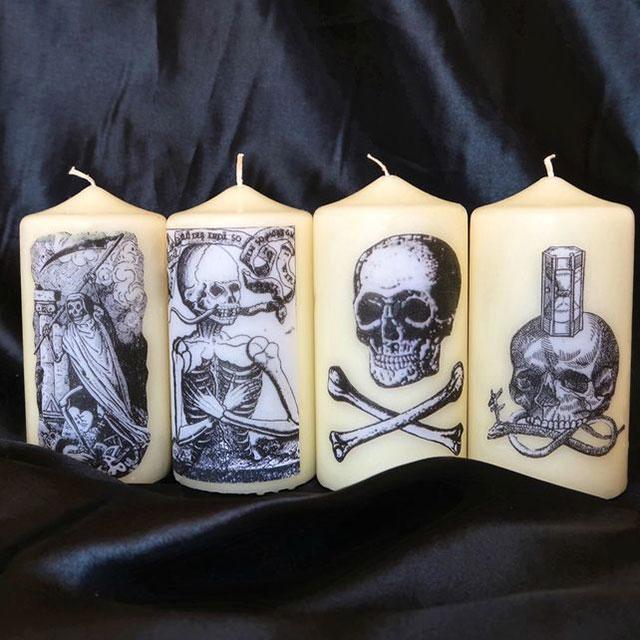 Gothic macabre memento mori candles