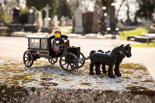 Lego horse-drawn funeral carriage