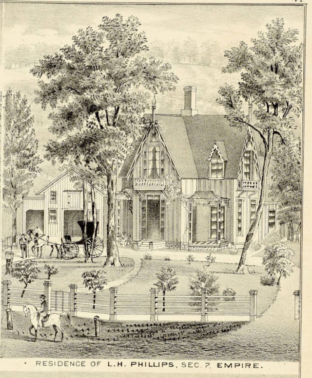 Lyman Phillips house from the Illustrated Historical Atlas of Fond du Lac County, Wisconsin